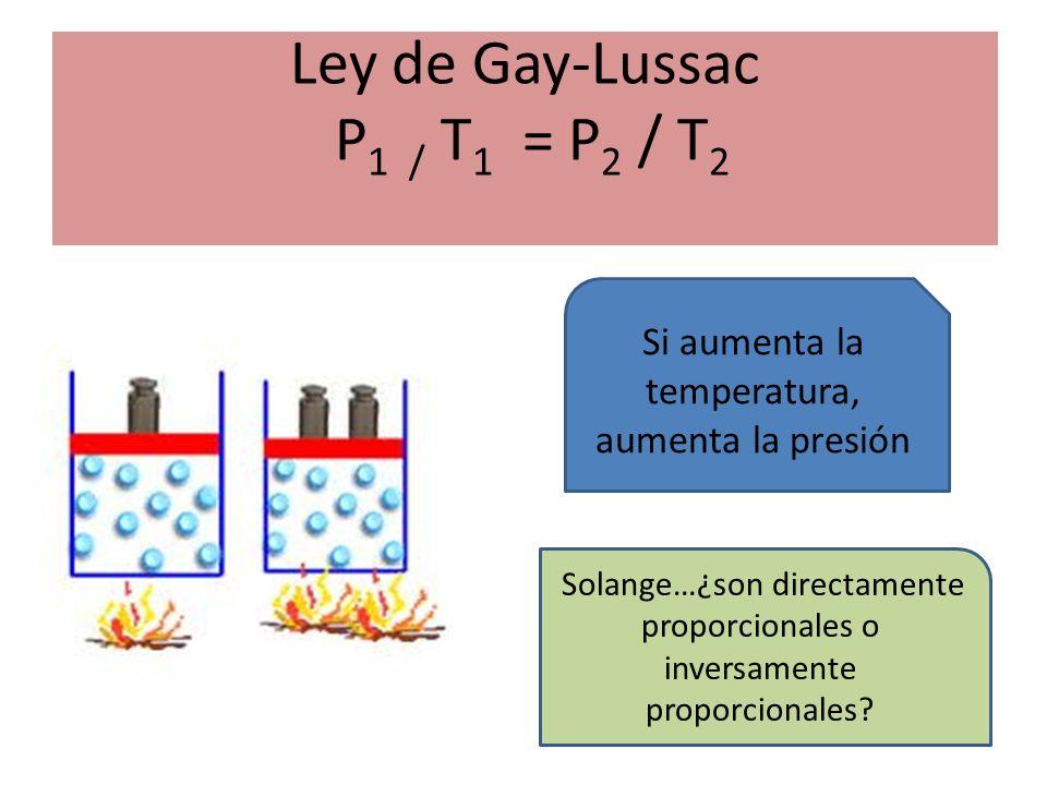 Ley de Gay-Lussac P1 / T1 = P2 / T2