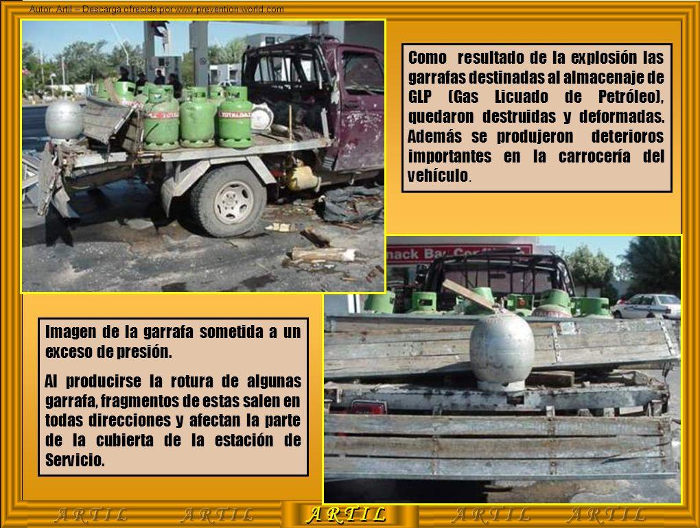 Como resultado de la explosión las garrafas destinadas al almacenaje de GLP (Gas Licuado de Petróleo), quedaron destruidas y deformadas. Además se produjeron deterioros importantes en la carrocería del vehículo.