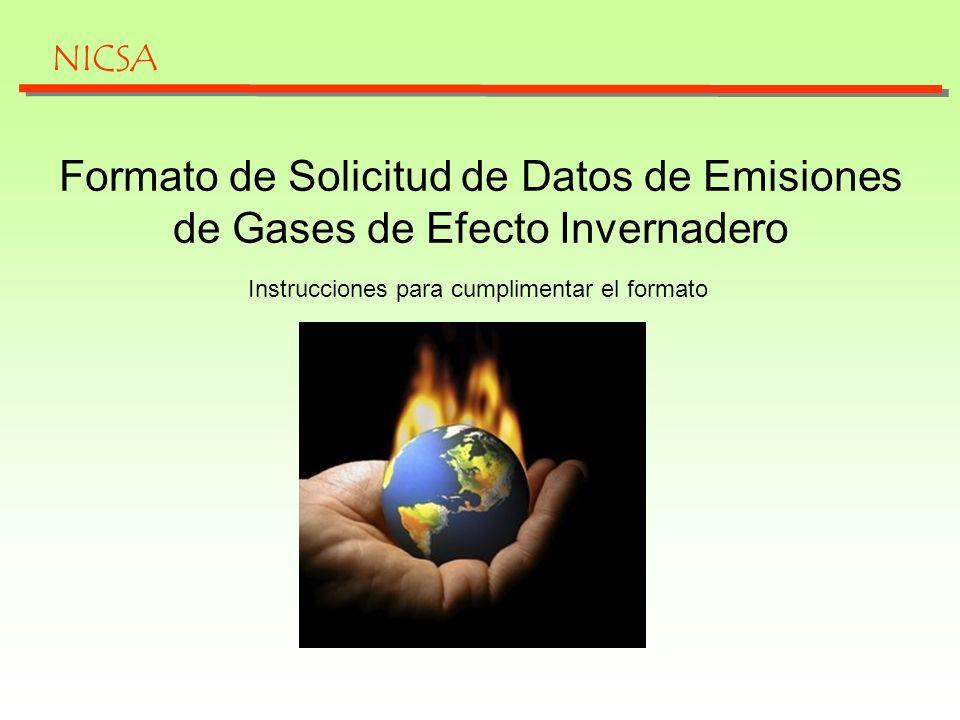 NICSA Formato de Solicitud de Datos de Emisiones de Gases de Efecto Invernadero.