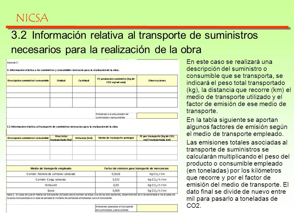 NICSA 3.2 Información relativa al transporte de suministros necesarios para la realización de la obra.