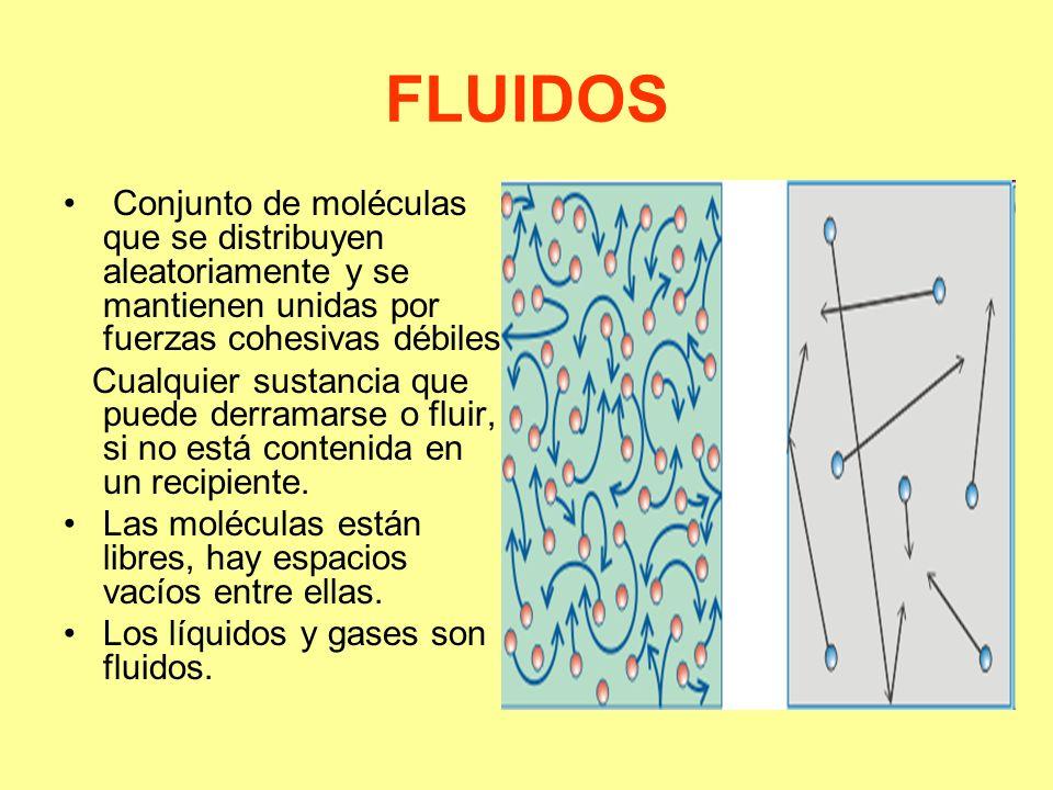 FLUIDOS Conjunto de moléculas que se distribuyen aleatoriamente y se mantienen unidas por fuerzas cohesivas débiles.