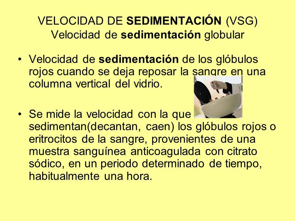 VELOCIDAD DE SEDIMENTACIÓN (VSG) Velocidad de sedimentación globular