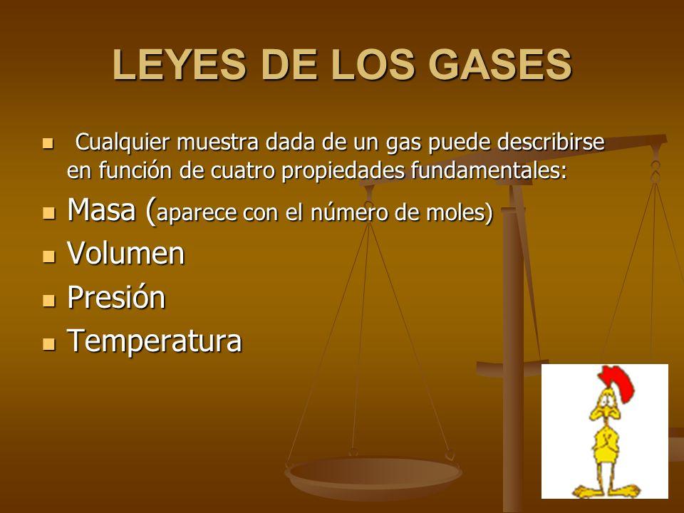 LEYES DE LOS GASES Masa (aparece con el número de moles) Volumen