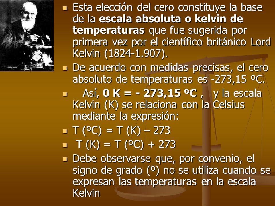 Esta elección del cero constituye la base de la escala absoluta o kelvin de temperaturas que fue sugerida por primera vez por el científico británico Lord Kelvin (1824-1.907).