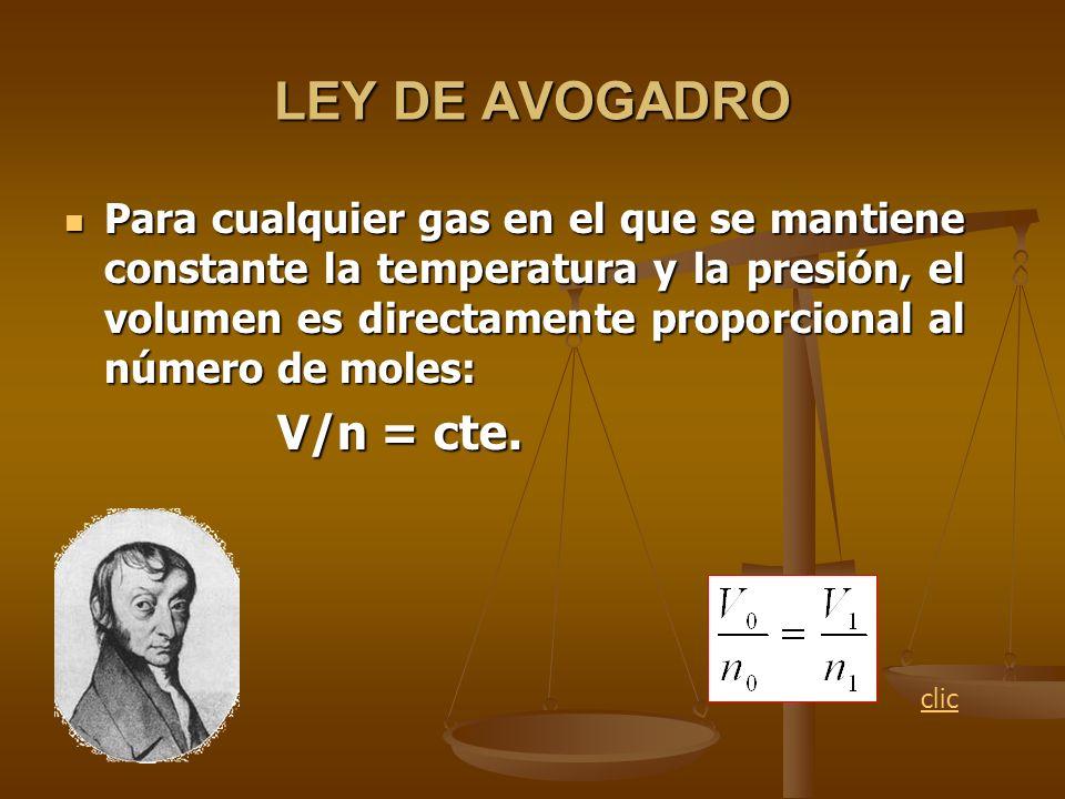 LEY DE AVOGADRO V/n = cte.