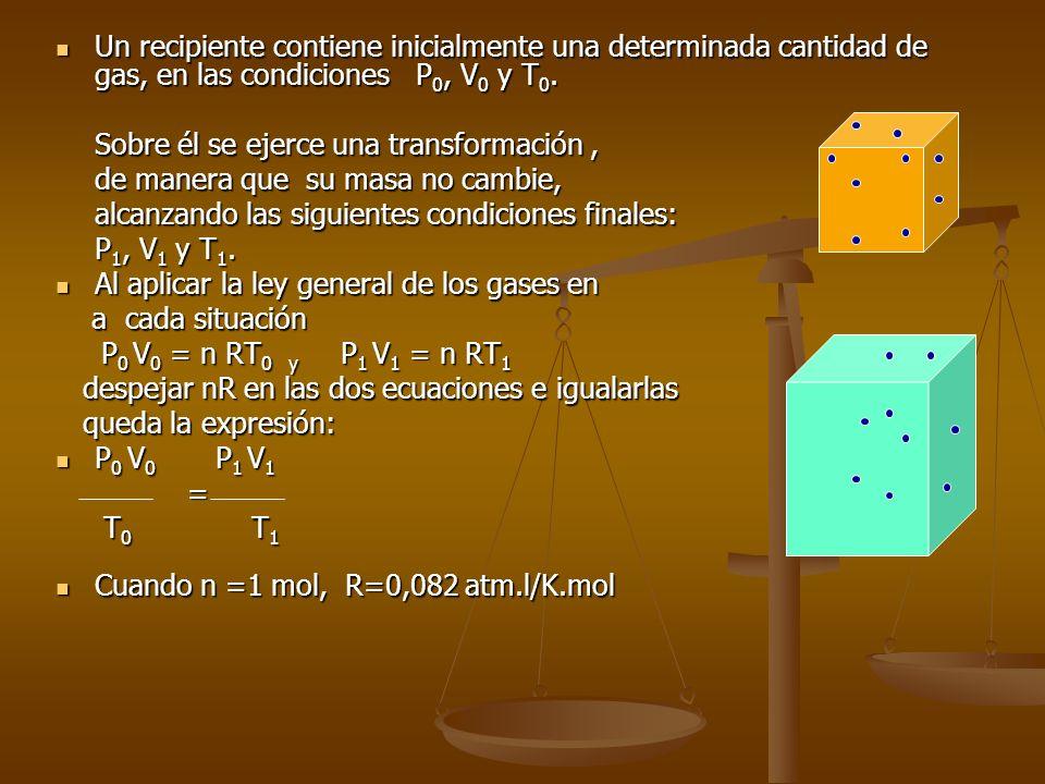 Un recipiente contiene inicialmente una determinada cantidad de gas, en las condiciones P0, V0 y T0.
