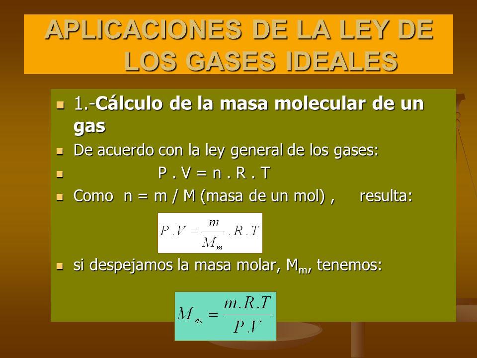 APLICACIONES DE LA LEY DE LOS GASES IDEALES