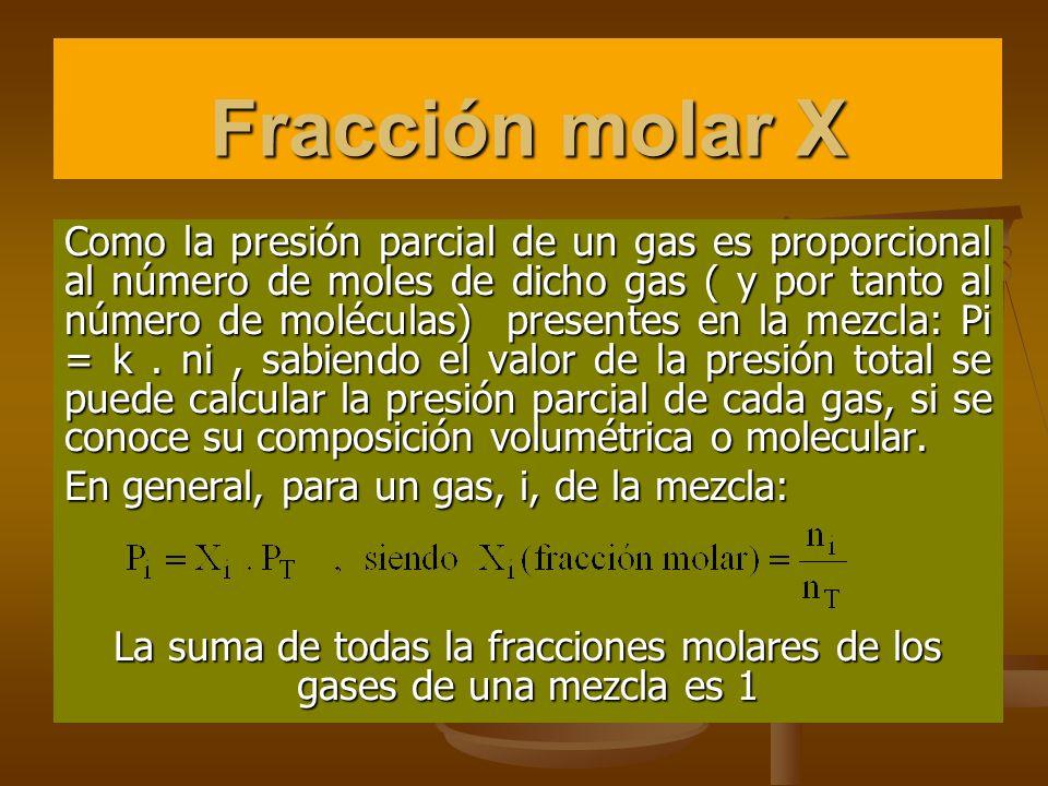 La suma de todas la fracciones molares de los gases de una mezcla es 1
