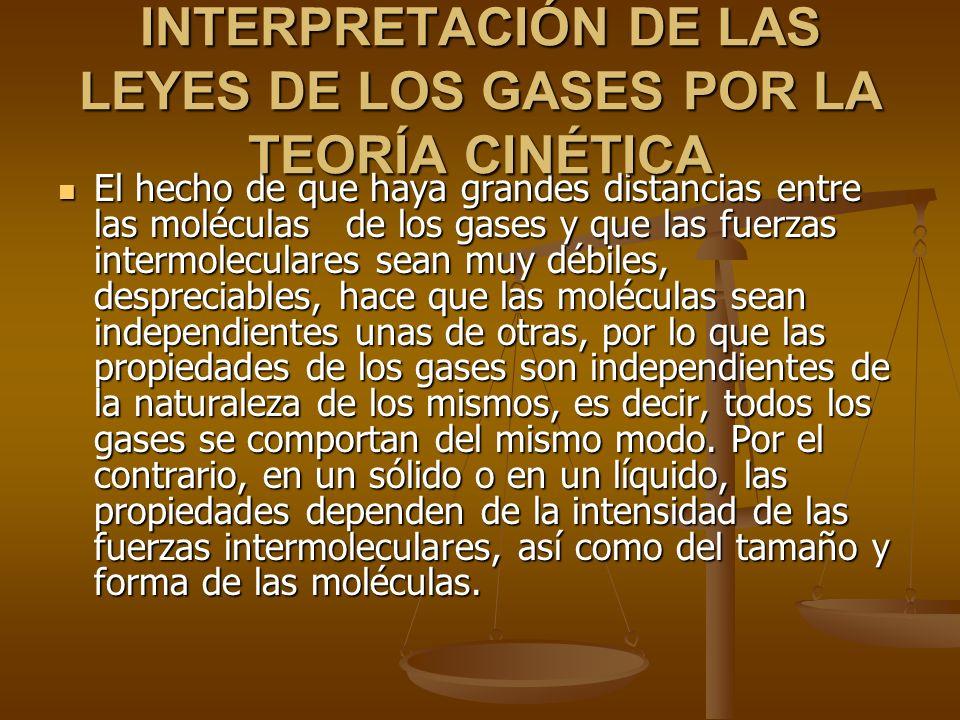 INTERPRETACIÓN DE LAS LEYES DE LOS GASES POR LA TEORÍA CINÉTICA