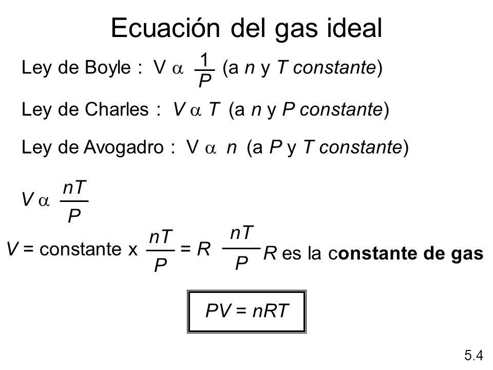 Ecuación del gas ideal 1 Ley de Boyle : V a (a n y T constante) P