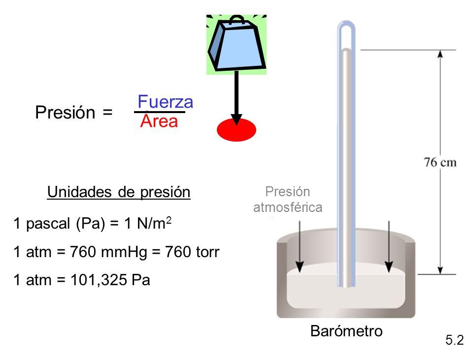 Fuerza Presión = Área Unidades de presión 1 pascal (Pa) = 1 N/m2