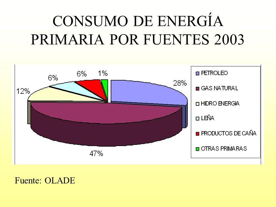 CONSUMO DE ENERGÍA PRIMARIA POR FUENTES 2003