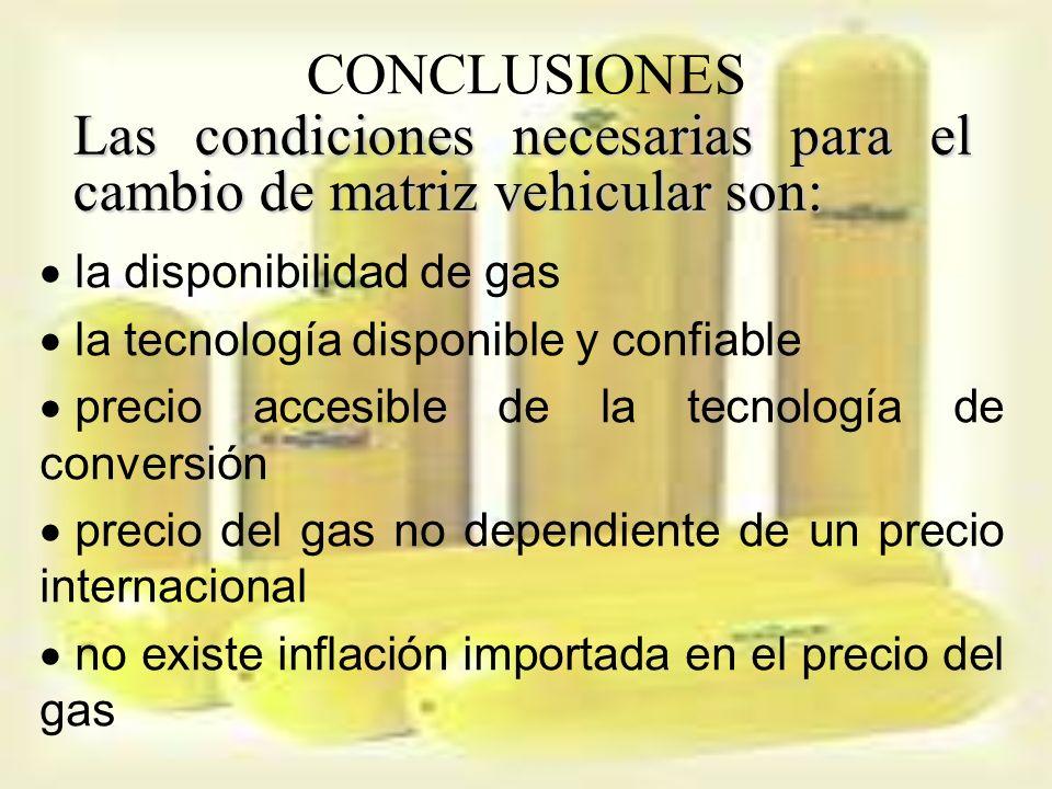 Las condiciones necesarias para el cambio de matriz vehicular son: