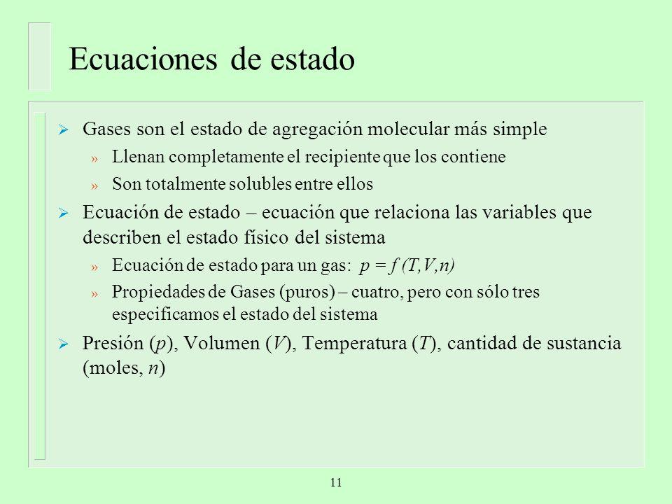 Ecuaciones de estado Gases son el estado de agregación molecular más simple. Llenan completamente el recipiente que los contiene.