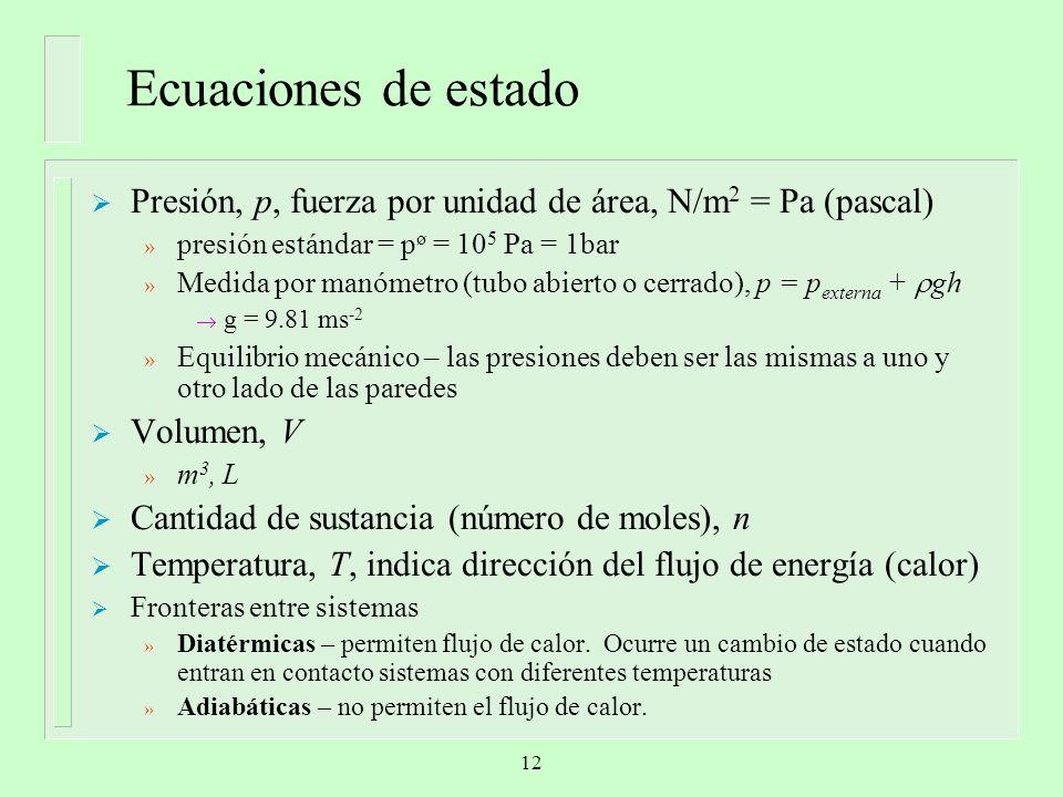 Ecuaciones de estado Presión, p, fuerza por unidad de área, N/m2 = Pa (pascal) presión estándar = pø = 105 Pa = 1bar.