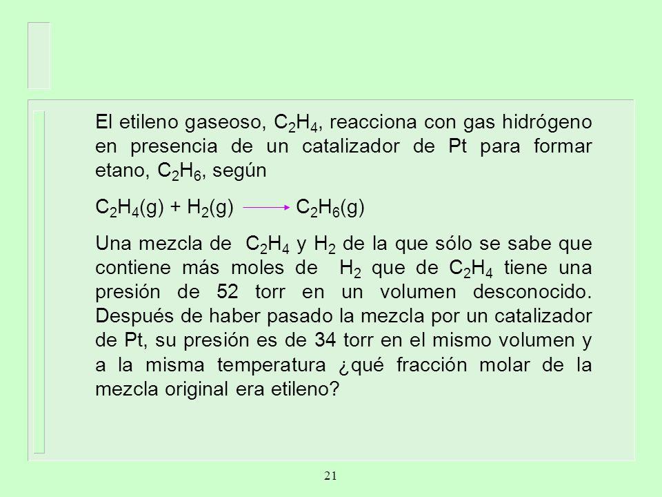 El etileno gaseoso, C2H4, reacciona con gas hidrógeno en presencia de un catalizador de Pt para formar etano, C2H6, según