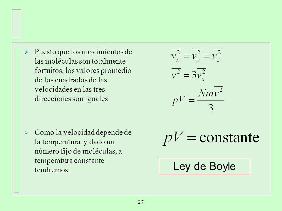 Puesto que los movimientos de las moléculas son totalmente fortuitos, los valores promedio de los cuadrados de las velocidades en las tres direcciones son iguales