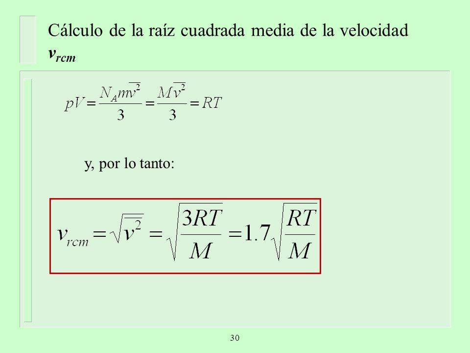 Cálculo de la raíz cuadrada media de la velocidad vrcm