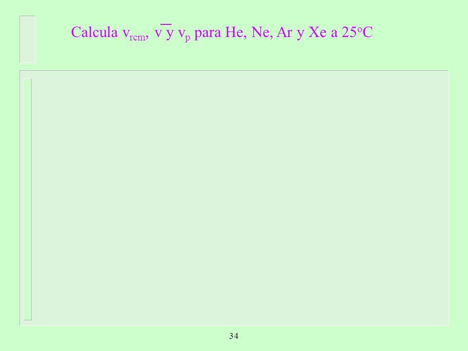 Calcula vrcm, v y vp para He, Ne, Ar y Xe a 25oC