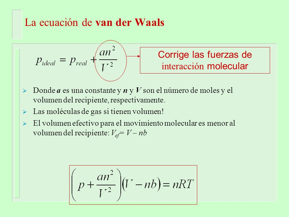 La ecuación de van der Waals