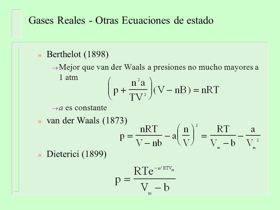 Gases Reales - Otras Ecuaciones de estado