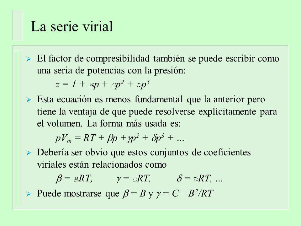 La serie virial El factor de compresibilidad también se puede escribir como una seria de potencias con la presión: