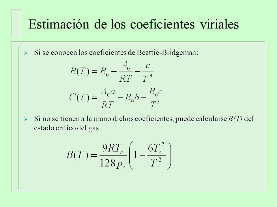 Estimación de los coeficientes viriales