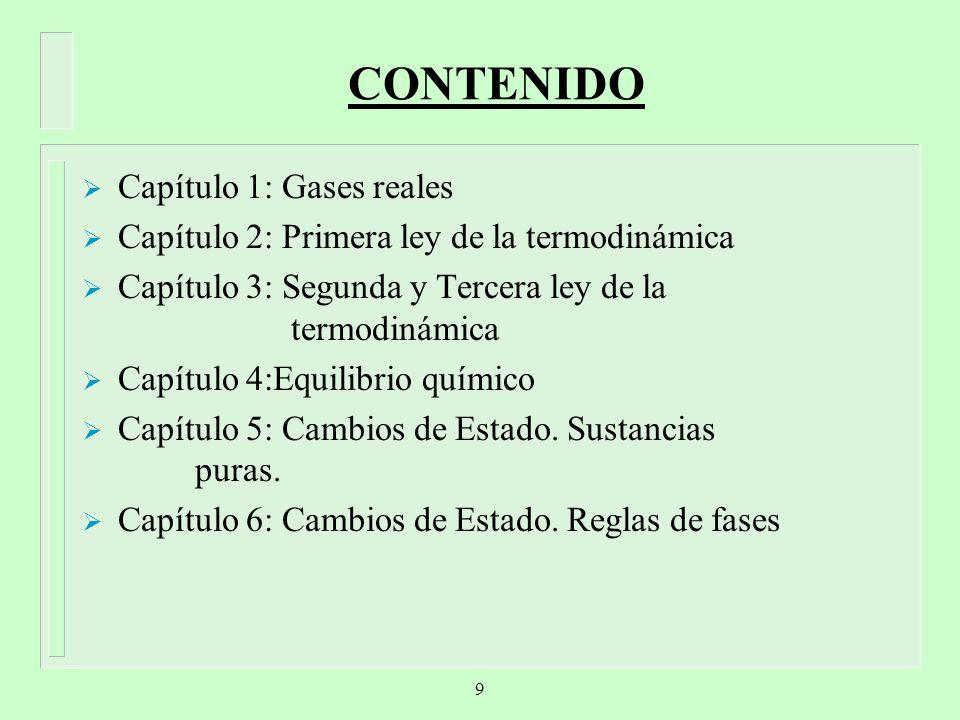 CONTENIDO Capítulo 1: Gases reales