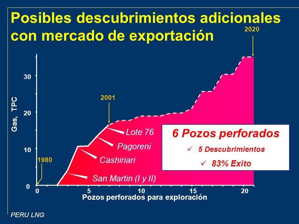 Posibles descubrimientos adicionales con mercado de exportación