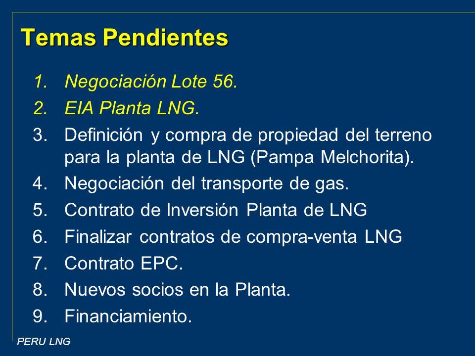 Temas Pendientes Negociación Lote 56. EIA Planta LNG.