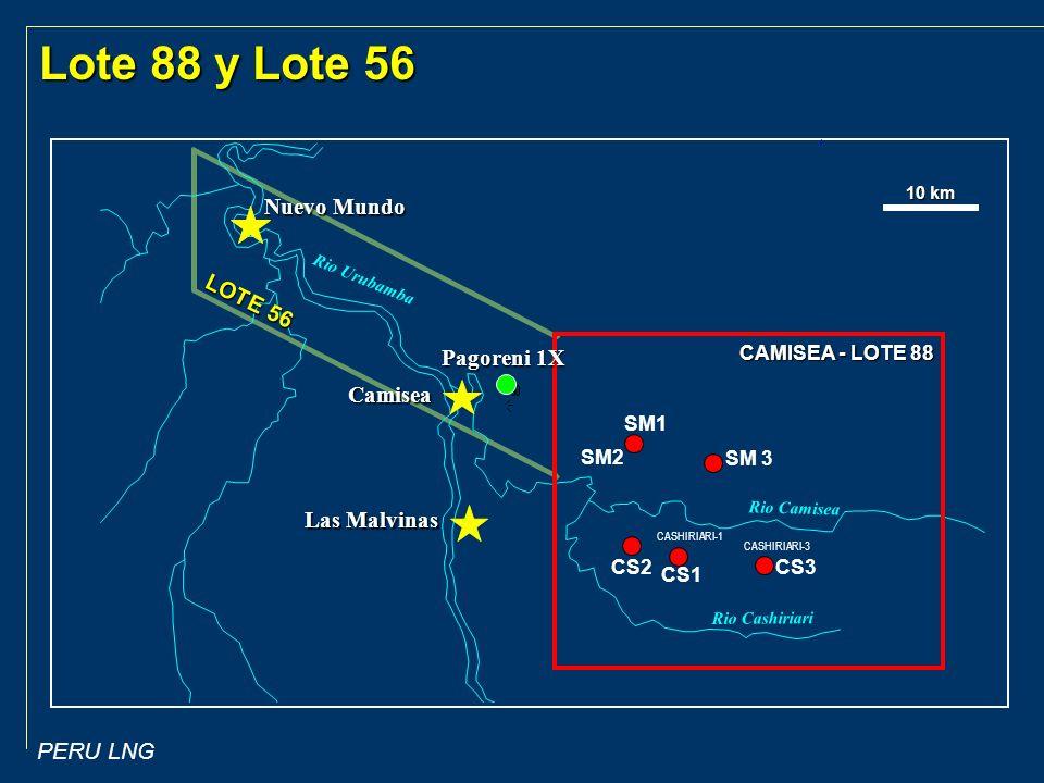 Lote 88 y Lote 56 Nuevo Mundo LOTE 56 Pagoreni 1X Camisea Las Malvinas