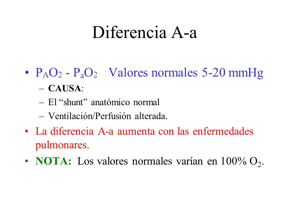 Diferencia A-a PAO2 - PaO2 Valores normales 5-20 mmHg
