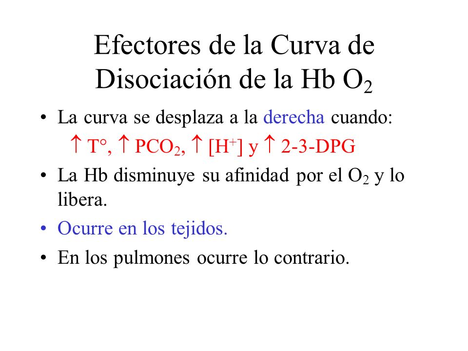 Efectores de la Curva de Disociación de la Hb O2