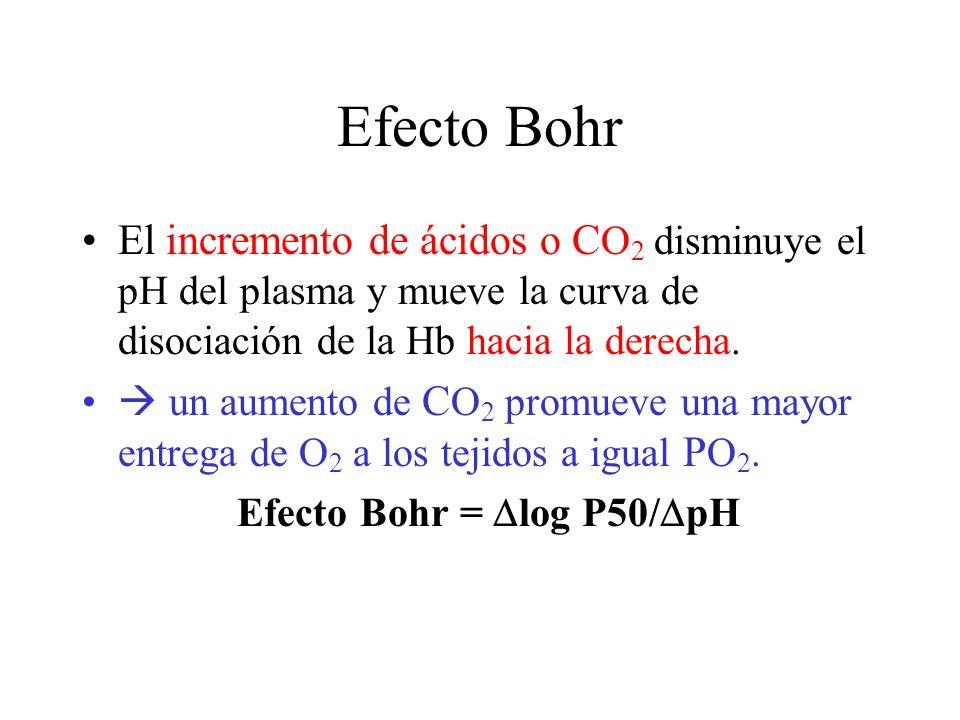 Efecto Bohr El incremento de ácidos o CO2 disminuye el pH del plasma y mueve la curva de disociación de la Hb hacia la derecha.