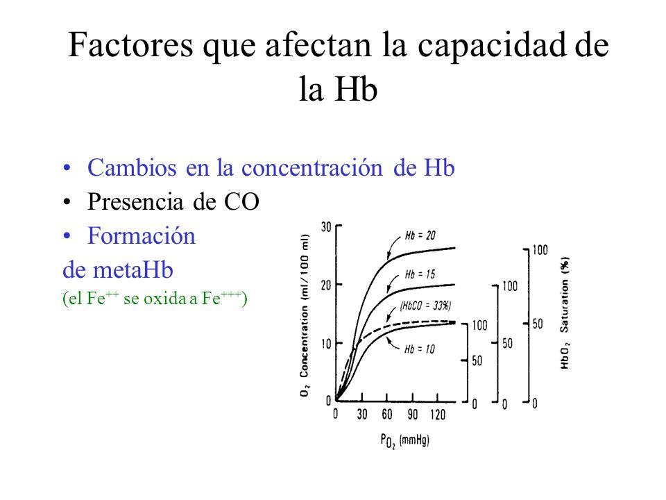 Factores que afectan la capacidad de la Hb