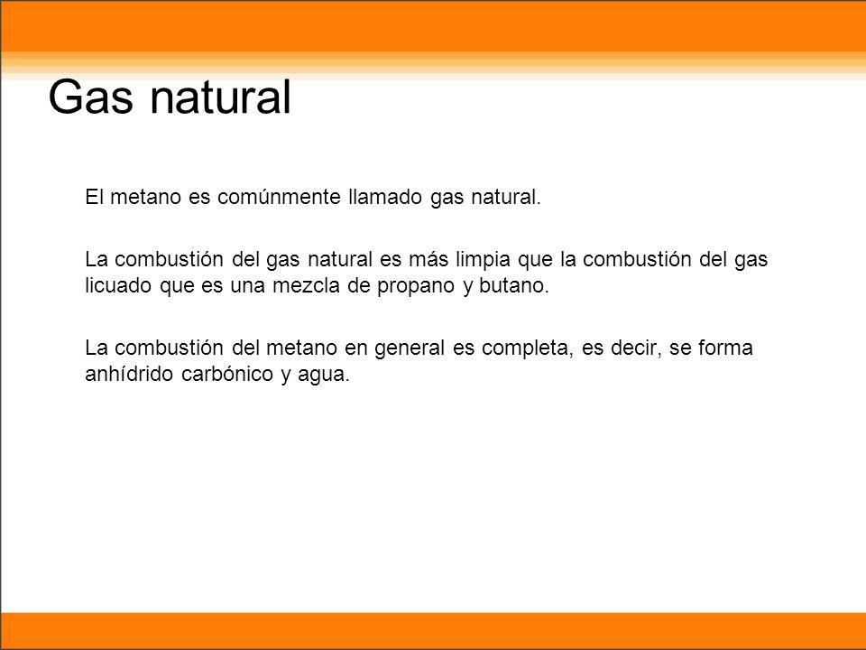Gas natural El metano es comúnmente llamado gas natural.
