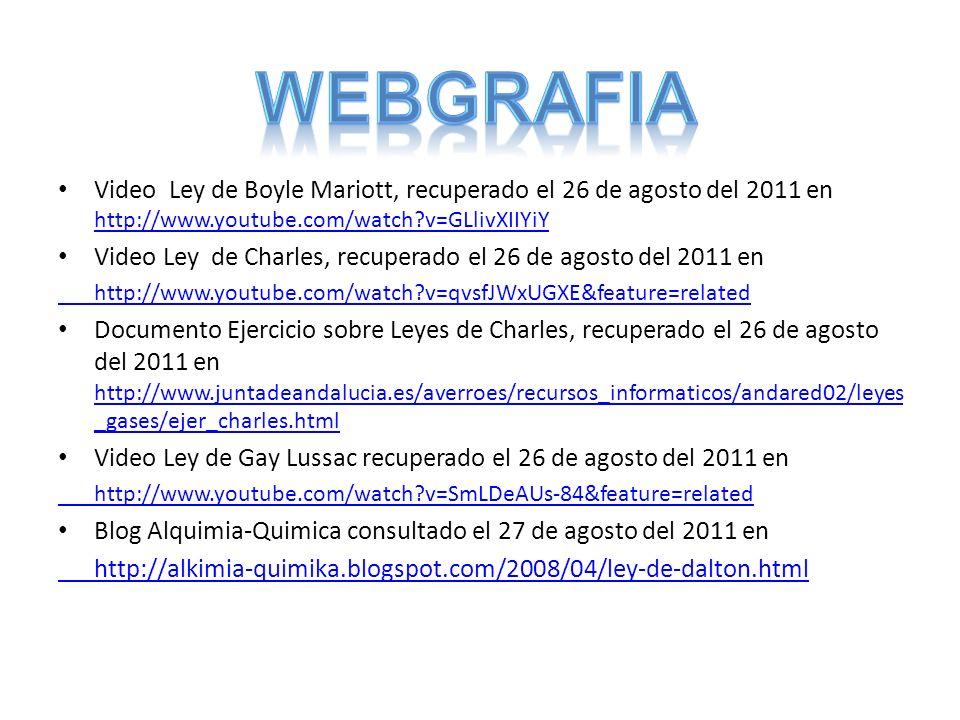 WEbgrafia Video Ley de Boyle Mariott, recuperado el 26 de agosto del 2011 en http://www.youtube.com/watch v=GLlivXIIYiY.