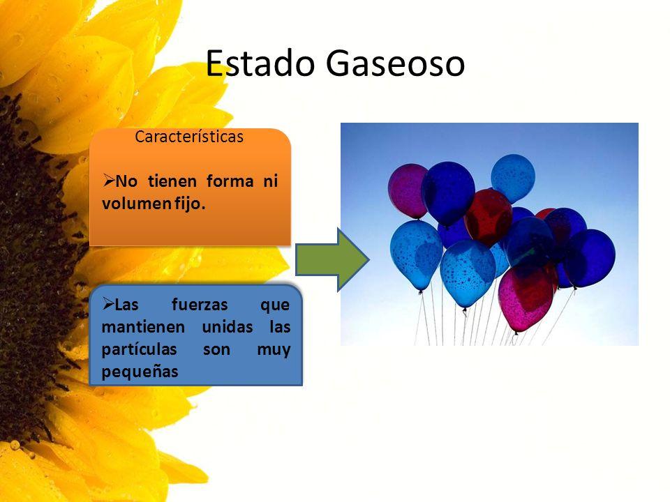 Estado Gaseoso Características No tienen forma ni volumen fijo.