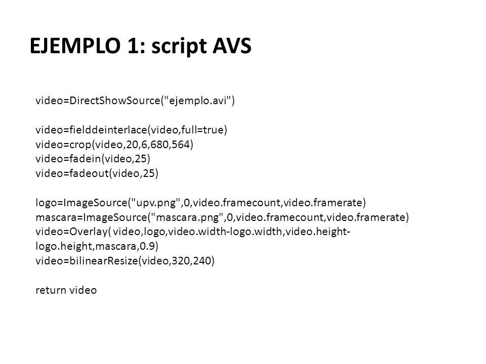 EJEMPLO 1: script AVS video=DirectShowSource( ejemplo.avi )