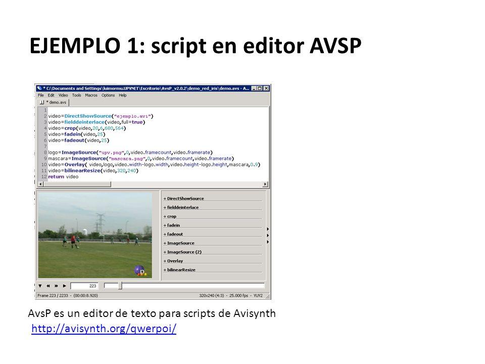 EJEMPLO 1: script en editor AVSP
