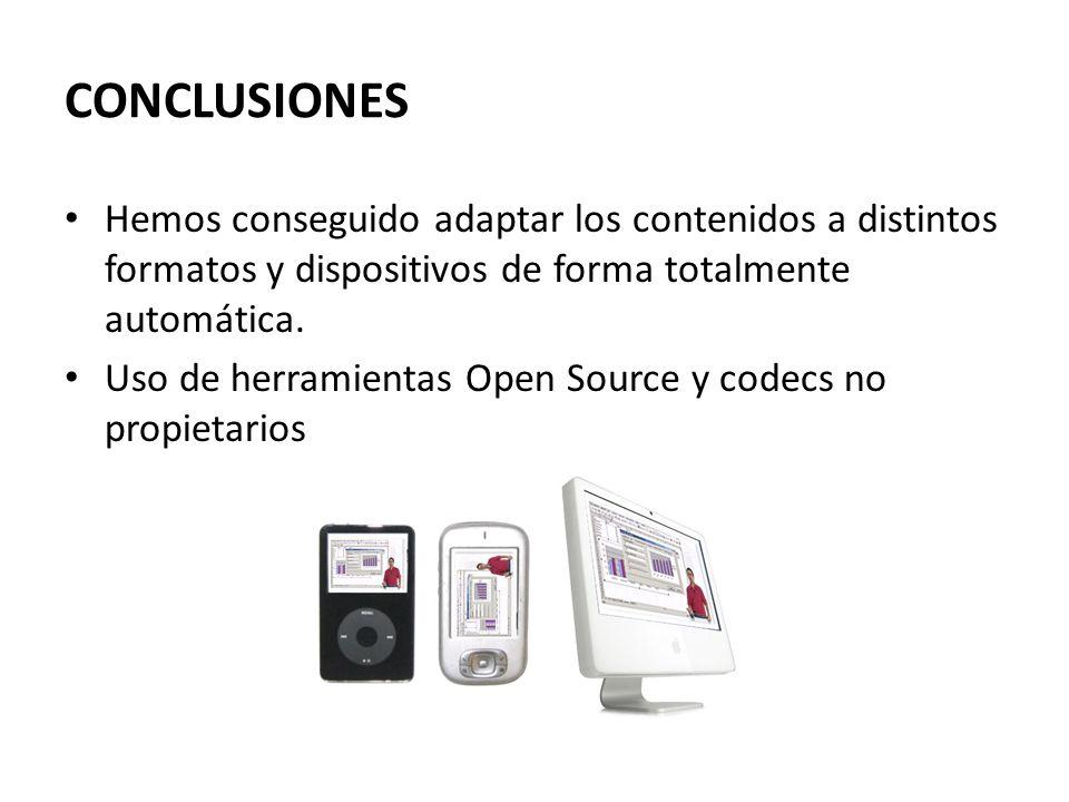 CONCLUSIONES Hemos conseguido adaptar los contenidos a distintos formatos y dispositivos de forma totalmente automática.