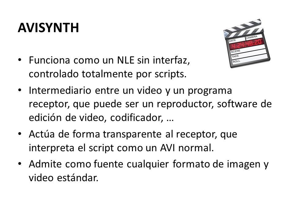 AVISYNTH Funciona como un NLE sin interfaz, controlado totalmente por scripts.