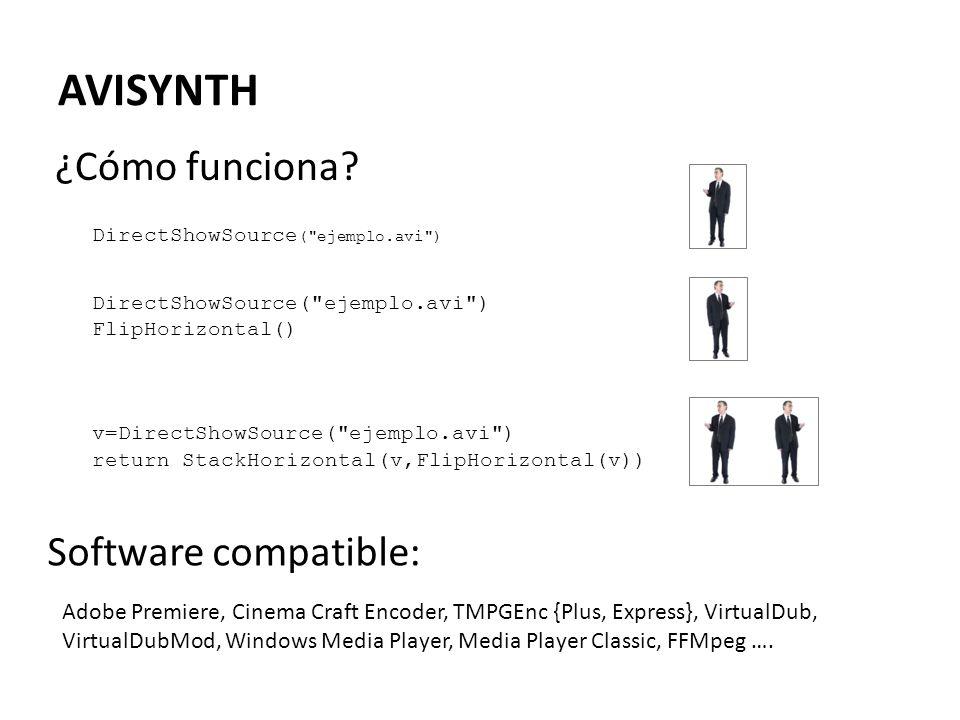 AVISYNTH ¿Cómo funciona Software compatible: