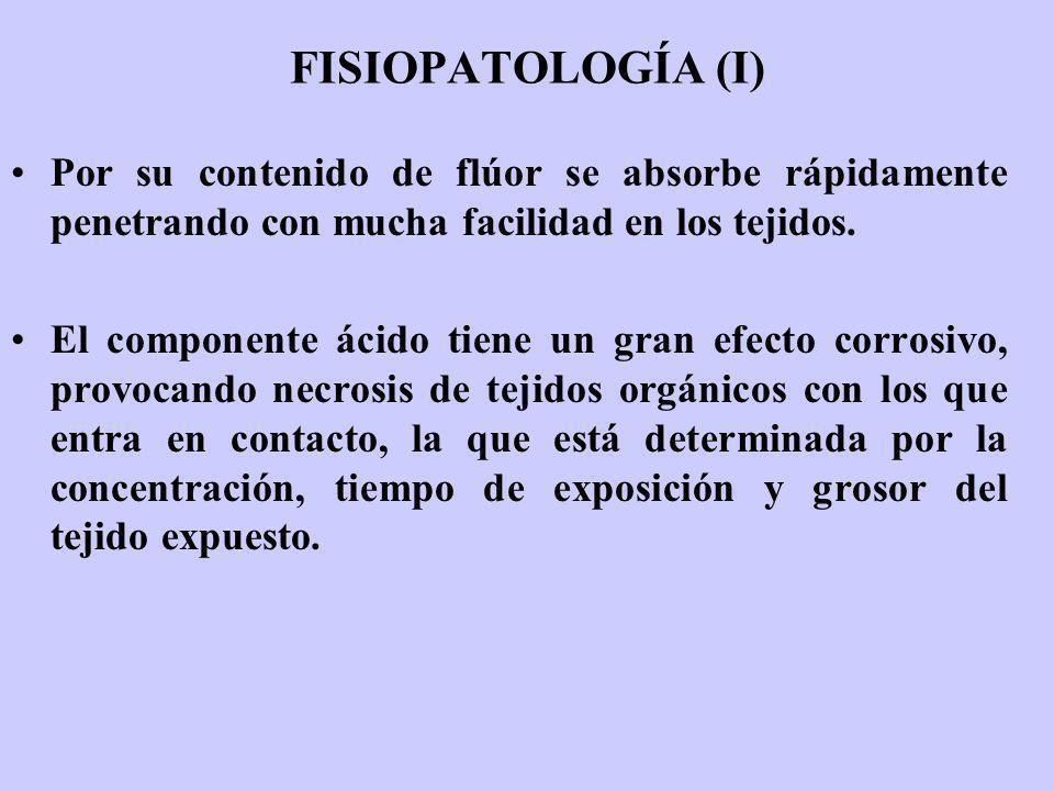 FISIOPATOLOGÍA (I) Por su contenido de flúor se absorbe rápidamente penetrando con mucha facilidad en los tejidos.
