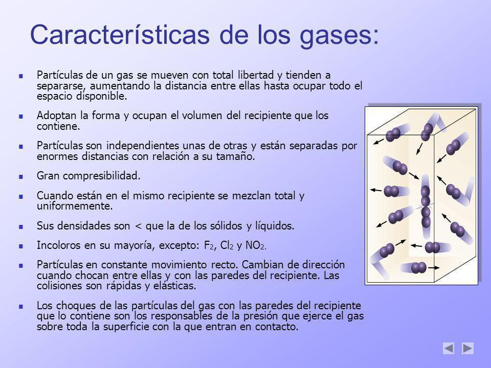 Características de los gases: