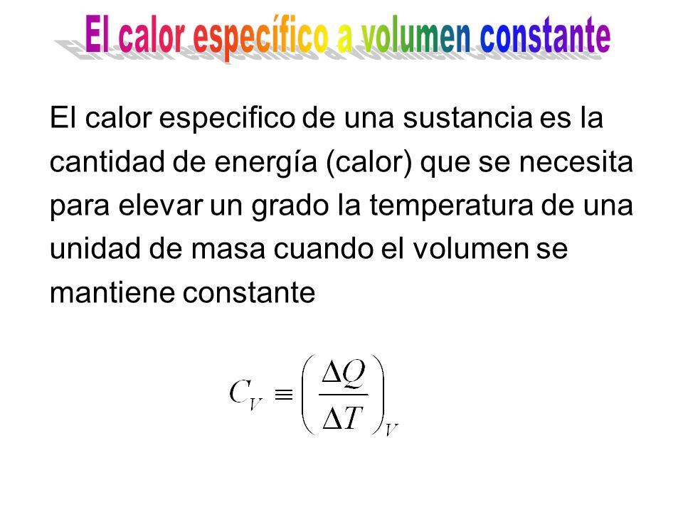 El calor específico a volumen constante