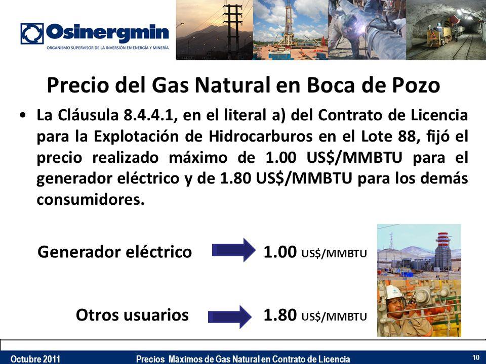 Precio del Gas Natural en Boca de Pozo