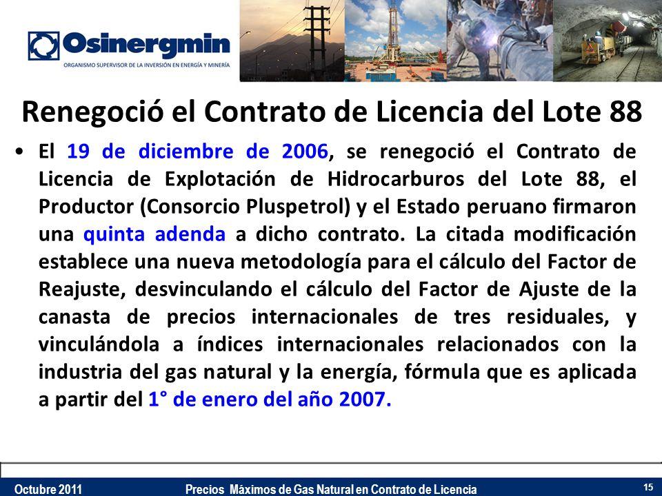 Renegoció el Contrato de Licencia del Lote 88