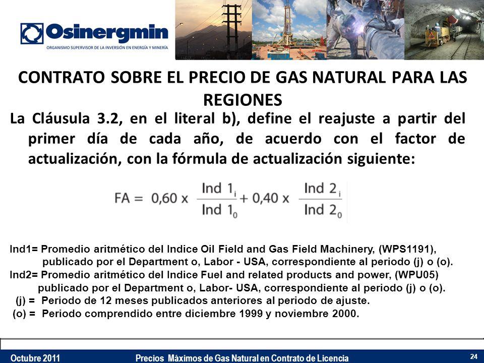 CONTRATO SOBRE EL PRECIO DE GAS NATURAL PARA LAS REGIONES