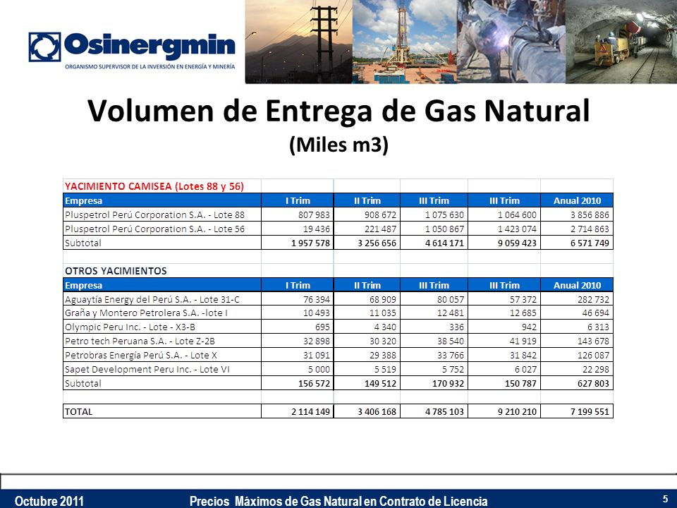 Volumen de Entrega de Gas Natural (Miles m3)